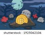bitcoin crash cartoon... | Shutterstock .eps vector #1925062106