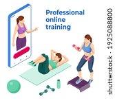 isometric online fitness and... | Shutterstock .eps vector #1925088800