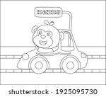 cute monkey cartoon having fun... | Shutterstock .eps vector #1925095730