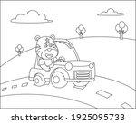 vector cartoon of funny tiger... | Shutterstock .eps vector #1925095733