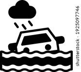 car sinking due to flood water... | Shutterstock .eps vector #1925097746