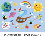 childhood stuffs and colourful... | Shutterstock .eps vector #1925106143