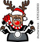 christmas deer on a motorcycle... | Shutterstock .eps vector #1925120033