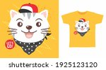 cute cat with hat and bandana... | Shutterstock .eps vector #1925123120