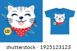 cute cat with red bandana... | Shutterstock .eps vector #1925123123