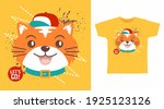 cute cat with red hat cartoon... | Shutterstock .eps vector #1925123126