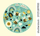 cute greeting card with bees ... | Shutterstock .eps vector #1925189900