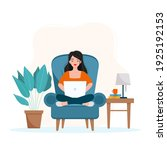 girl sitting on an armchair and ...   Shutterstock .eps vector #1925192153