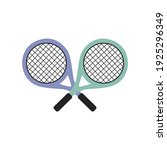 two colored tennis rackets on a ... | Shutterstock .eps vector #1925296349