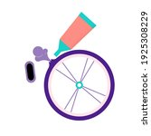 flat tire bicycle wheel.... | Shutterstock .eps vector #1925308229