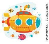 cartoon submarine under the sea | Shutterstock .eps vector #1925313806