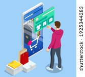 isometric smart phone online... | Shutterstock .eps vector #1925344283