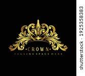 gold royal crown logo luxury... | Shutterstock .eps vector #1925358383