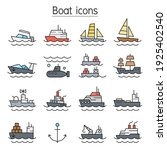 boat color line icons set | Shutterstock .eps vector #1925402540