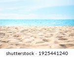 Sand Beach With Blue Sea And...