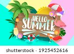 hello summer vector concept... | Shutterstock .eps vector #1925452616