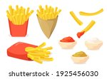 french fries set. potato sticks ... | Shutterstock .eps vector #1925456030