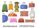 travel bags set. plastic and... | Shutterstock .eps vector #1925457416