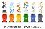 garbage sorting set. bins with... | Shutterstock .eps vector #1925460110