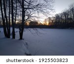 Sunset In Winter Over A Frozen...