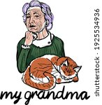 cute grandmother member with... | Shutterstock .eps vector #1925534936