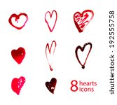 hand drawn hearts set | Shutterstock .eps vector #192555758
