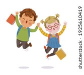 childen jumping. boy and little ... | Shutterstock .eps vector #1925610419