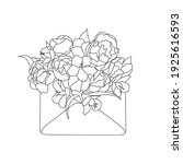 envelope with  flowers line... | Shutterstock .eps vector #1925616593