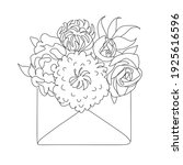 envelope with  flowers line... | Shutterstock .eps vector #1925616596