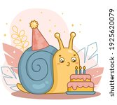 happy cute cartoon snail with a ... | Shutterstock .eps vector #1925620079