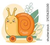 happy cute cartoon snail on... | Shutterstock .eps vector #1925620100