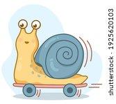 happy cute cartoon snail on... | Shutterstock .eps vector #1925620103