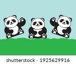 cute sitting pandas. vector... | Shutterstock .eps vector #1925629916