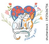 purring cute cats with wings in ... | Shutterstock .eps vector #1925636756