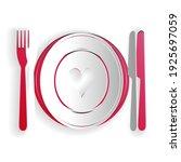 paper cut heart on plate  fork... | Shutterstock .eps vector #1925697059