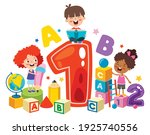 happy kids studying and learning | Shutterstock .eps vector #1925740556