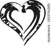 black ornamental heart icon on... | Shutterstock .eps vector #1925741000