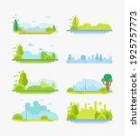 city park landscape flat vector ... | Shutterstock .eps vector #1925757773