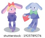 a couple of toy rabbits in love ... | Shutterstock .eps vector #1925789276