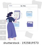 woman search a document or file ...