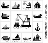 vector black icon set ship and... | Shutterstock .eps vector #192584006