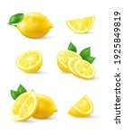 set of realistic lemon with... | Shutterstock .eps vector #1925849819