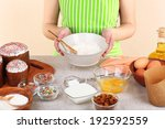woman preparing easter cake in... | Shutterstock . vector #192592559