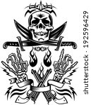 skull pirate and guns   | Shutterstock .eps vector #192596429