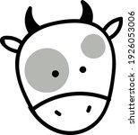 grey cow head  illustration ... | Shutterstock .eps vector #1926053006