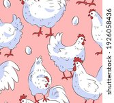 seamless pattern with hens and... | Shutterstock .eps vector #1926058436