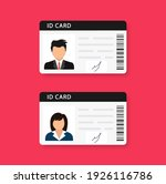 woman and man plastic id cards  ... | Shutterstock .eps vector #1926116786