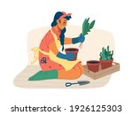 woman takes care of plants in... | Shutterstock .eps vector #1926125303