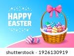 gift basket for easter. happy... | Shutterstock .eps vector #1926130919