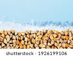 Woodpile Of Firewood On The...